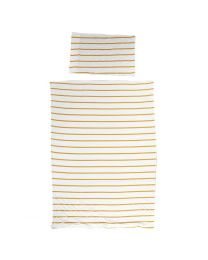 Childhome - Housse De Couette + Taie - 100x140 cm - Jersey Ochre Stripes