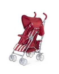 Childhome - Buggy 5 Pos Alu - Rouge/Blanc Retro Stripes