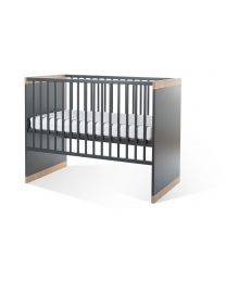 Childhome - Paris Dark Oak et Anthra Lit Cage 60x120 cm + Sommier et Lattes
