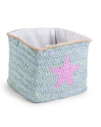 Childhome - Panier Paille Tresse Star & Cloud - 30x33x33 cm - Mint
