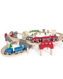 Hape - High & Low Railway Set - Train en bois