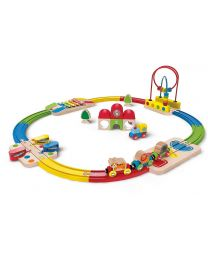 Hape - Rainbow Route Railway & Station Set - Train en bois