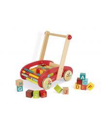 Janod - Chariot Abc Buggy Tatoo - 30 Cubes - Draisienne en bois