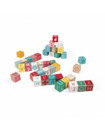 Janod - Kubix - 40 Cubes en bois Lettres + Chiffres