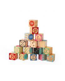 Janod - Kubix - 16 Cubes en bois Alphabet Graves