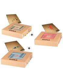 Kapla - Blocs de construction - Couleur - 3x40 pièces - 6 couleurs + 3 livres