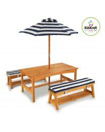 Kidkraft - Ensemble: table, 2 bancs et parasol