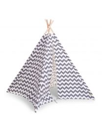 Childhome - Tente de Jeu Tipi Zigzag - Gris/Blanc