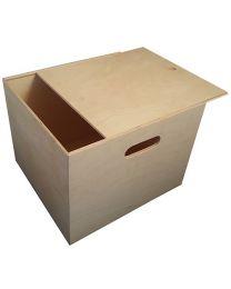 Coffre de rangement en bois carré avec couvercle coulissant de Lionel