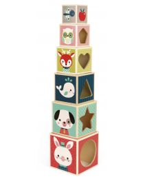 Janod - Pyramide 6 cubes 'Baby Forest'